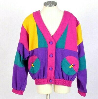 Vtg 1990s Pastel Multi Color Sweatshirt Jacket Crop Cardigan Top Retro Womens S