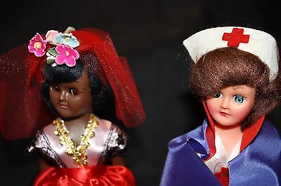 Vintage Sleepy eyed  Dolls Two collector Series nurse and African doll
