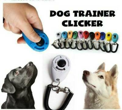 Pet Dog&Cat Training Clicker Puppy Button Click Trainer Obedience W/ Wrist Strap
