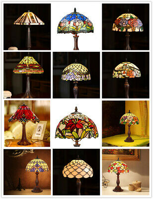 Joanne Tiffany@Hand Crafted Stained Glass Leadlight Tiffany Bedside Lamp