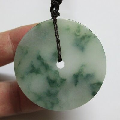 CERTIFIED Natural (A) Untreated Green Jadeite Jade Gorgeous Circle Donut Pendant