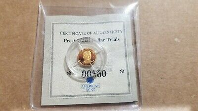 AMERICAN MINT WORLDS SMALLEST GOLD COIN .5 G 14K SOLID Ronald Reagan COA