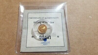 AMERICAN MINT WORLDS SMALLEST GOLD COIN .5 G 14K SOLID Sprit of St. Louis COA