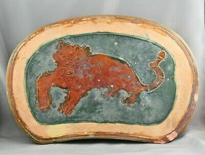 Antique Chinese Tang San Cai Style 唐三彩Terracotta Pillow Painted With Tiger Motif
