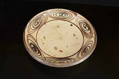 A8467: Japanese Old Seto-ware Horse's eyes pattern ORNAMENTAL PLATE/Dish