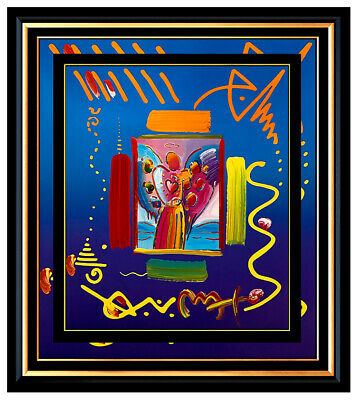 PETER MAX Acrylic PAINTING Original ANGEL WITH  HEART Signed POP ART oil Love