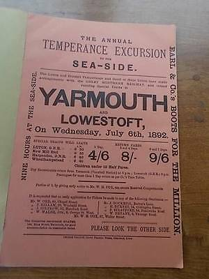 Great Northern Railway Notice Advertisement Poster GNR Luton Yarmouth Lowestoft