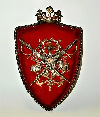 MEDIEVAL SPAIN Coat Of Arms Crest Removable Swords Removable Crown Red Shield