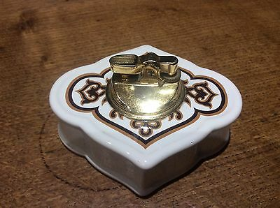 Vintage Retro 1970s Carlton Ware Pottery & Brass Table Lighter Never Used NoFuel