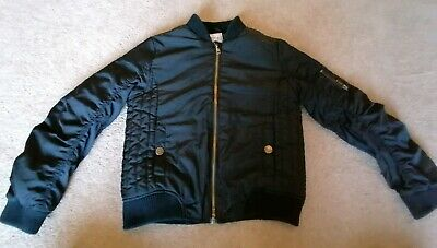Next Girls Black Bomber Jacket Coat Puffer Age 9 Years Good Condition