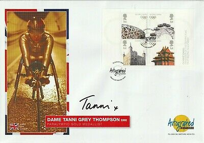 22 Aug 2008 Olympic Handover Fdc Hand Signed By Tanni Grey Thompson Shs