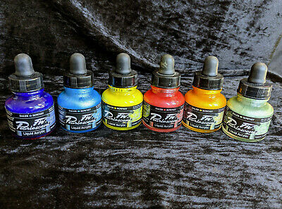 Daler Rowney FW Acrylic Ink 6 bottles of 29.5ml different pearlescent colours.