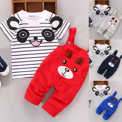 Kids Girls Boys Baby Printed Short Sleeve Top+pants Overall Bib Party Outfit Set