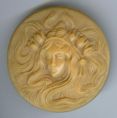 Vintage Carved Celluloid Art Nouveau Woman Face With Flowing Hair Hand Mirror