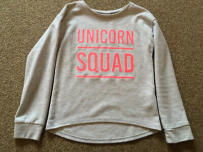 Girls, Matalan, Grey/Pink, Unicorn Squad Logo Long Sleeved, Sweatshirt.Age 9Yrs