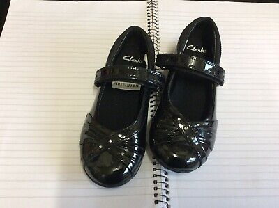 Clarks Girls Black Patent Infant 8 D School Shoes BNWT
