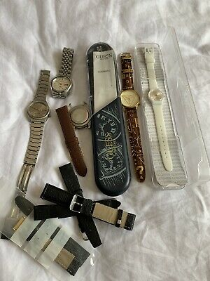Job Lot Watches And Leather Straps Seiko Citizen Automatics Guess Swatch