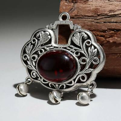 Collect Old Miao Silver Armour Amber Hand-Carved Flower Moral Auspicious Pendant