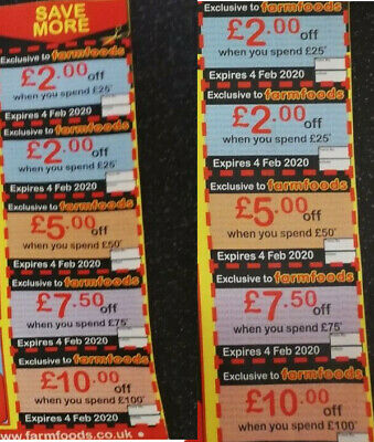 20 Farmfoods Coupons Vouchers.Valid until 4th FEBRUARY 2020 Discount Worth £106