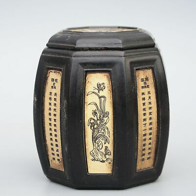 Collect China Old Boxwood Hand-Carve Bloomy Flower & Fairchild Noble Storage Jar