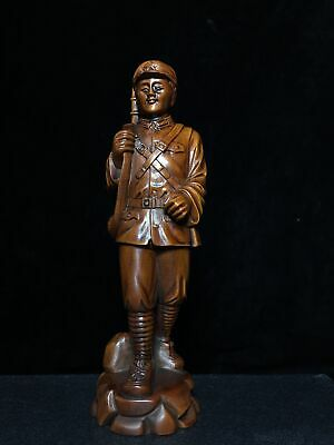 Collectable China Old Boxwood Hand-Carved Red Army Man Warrior Souvenir Statue