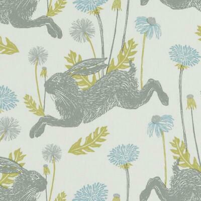 Clarke and Clarke March Hare Rabbit FABRIC By The Metre Mineral Blue Curtains Bl