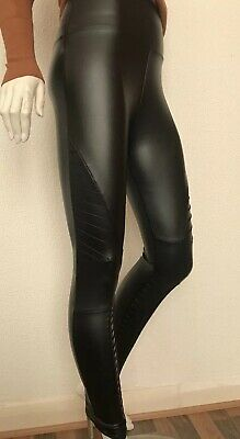 New Black Thermal Leather Look Shiny Stretchy Leggings Size S/M 6/8/10