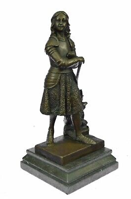 """VINTAGE FRENCH ANTIQUE-STYLE SOLID BRONZE STATUE of JOAN of ARC, """"Fremiet"""" Sale"""