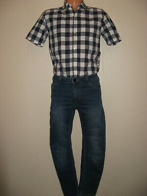 Worn Once Next Boys Short Sleeve Check Shirt & Blue Stretch Jeans Bundle Age 13