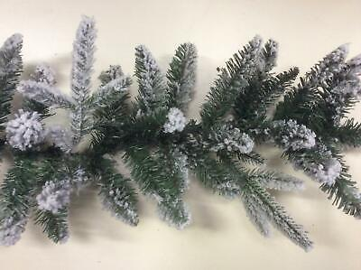 2.7m Long 'Lapland' Flocked Snowy Pine Garland Christmas Decoration
