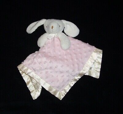 Blankets & Beyond Pink Bunny Rabbit Baby Blanket Minky Dot Satin Security Lovey