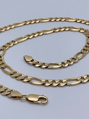 "14kt Solid Yellow Gold 27.5g Figaro Link Chain 21"" Marked Italy"
