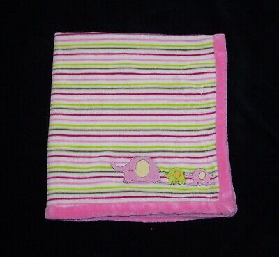 Absorba Elephant Baby Blanket Pink Green Stripe Plush  Security Lovey