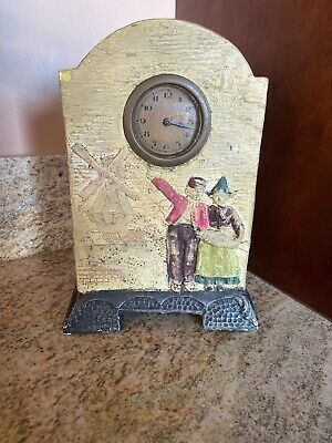 Vintage Dutch Ceramic Clock Made In Chechoslovakia As is