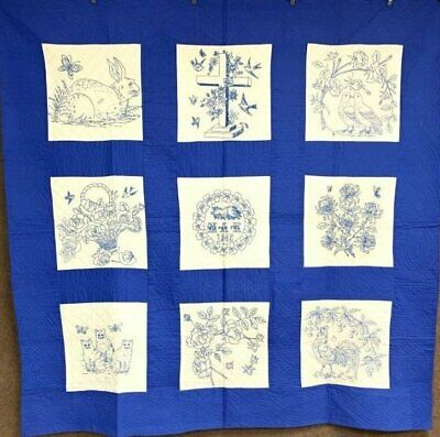 Beautiful Blue! Vintage Pictorial Bride QUILT Cats Rooster Love Birds SIGNED