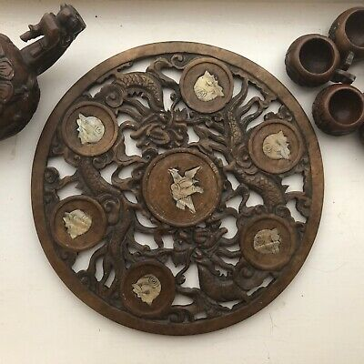 Hand Carved 6 Piece Chinese Soap Stone Tea Set & Tray Dragon Pot Inlaid Abalone