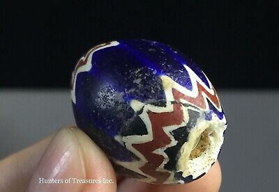 Old Native American Chevron Six 6 Layers Trade Bead 1800's G. Lakes Indians NY