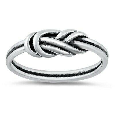 Oxidized Rope Knot Twist Stackable Ring New .925 Sterling Silver Band Sizes 4-10