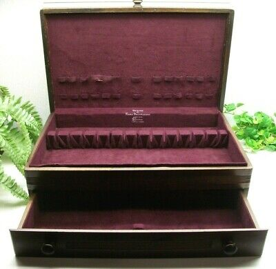 Vtg Sterling Silverplate Flatware JUMBO Wooden Wood Storage Chest Case Box 24+