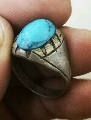 EXCEPTIONAL MEDIEVAL SILVER RING FANTASTIC RARE STONES inner 22mm