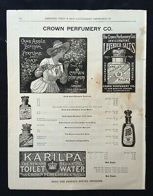 1893 VTG Marshall Field Catalog Page ~ Crown Perfume  Pear's Soap  Chamois Skins