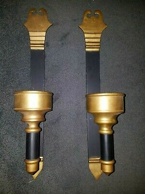 Large Heavy Duty Brass and Cast Iron Mid Evil Style Wall Sconces ~