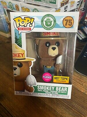 FUNKO POP AD ICONS: SMOKEY THE BEAR FLOCKED HOT TOPIC EXCLUSIVE In Hand
