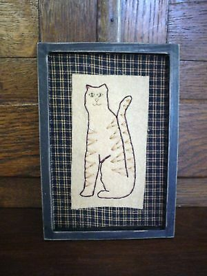 Primitive Stitchery Stitch Wall Hanging Decor Cat Wood Green Frame