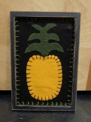 Primitive Stitchery Stitch Wall Hanging Decor Pineapple Wood Frame