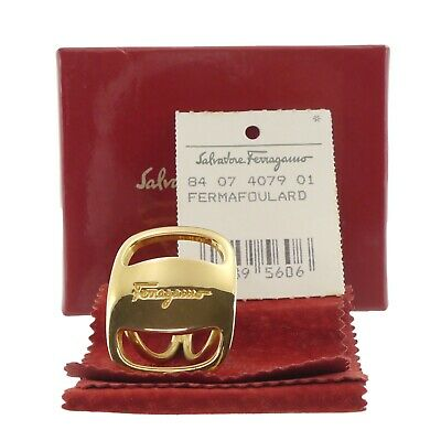 Auth Salvatore Ferragamo Ferma Foulard Scarves Ring Gold Metallic 4079 #f46109