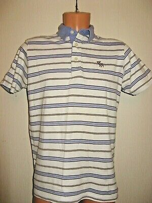 Hardly Used Boys Striped Abercrombie & Fitch Short Sleeve Polo T-Shirt Age 14-15