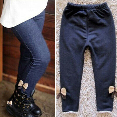 Kids Girls Bow Tie Casual Skinny Trousers Bottoms Stretch Warm High Waist Pants