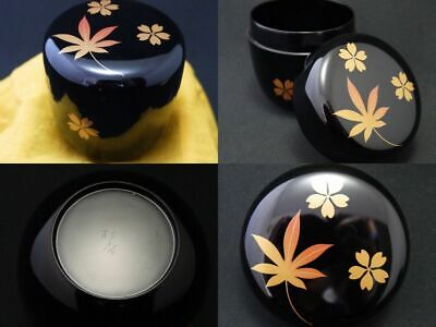 Japanese WAJIMA Lacquer Wooden Tea caddy Spring and Autumn makie Natsume (1224)