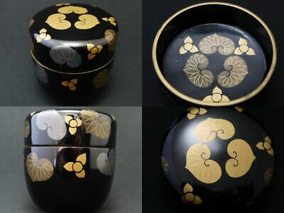 Japanese Lacquer Wooden Tea caddy ASARUM CAULESCENS design makie Natsume (1213)